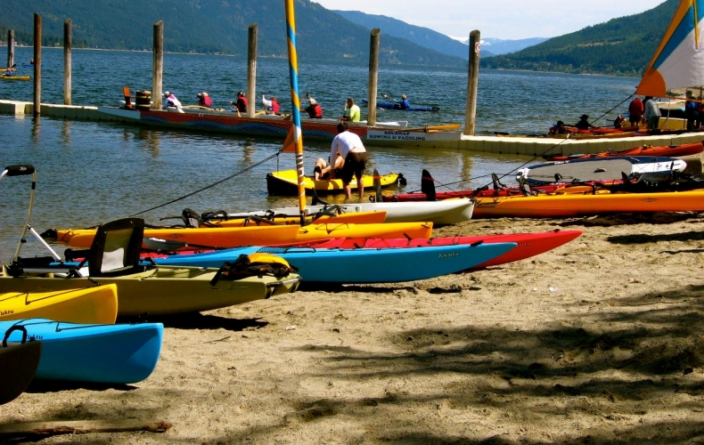 Kayaks on Canoe Beach