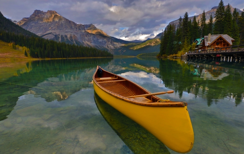 Yellow Canoe on Emerald Lake